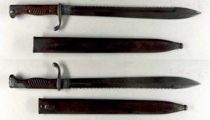 Blankwaffen Deutschland Preußen, Seitengewehr 98/05 n.A., mit Sägerücken, Kammerstück, Klinge mit