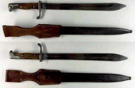 """Blankwaffen Deutschland Preußen, Seitengewehr 98/05 a.A. mit Sägerücken, Klinge mit Hersteller """"V.C."""