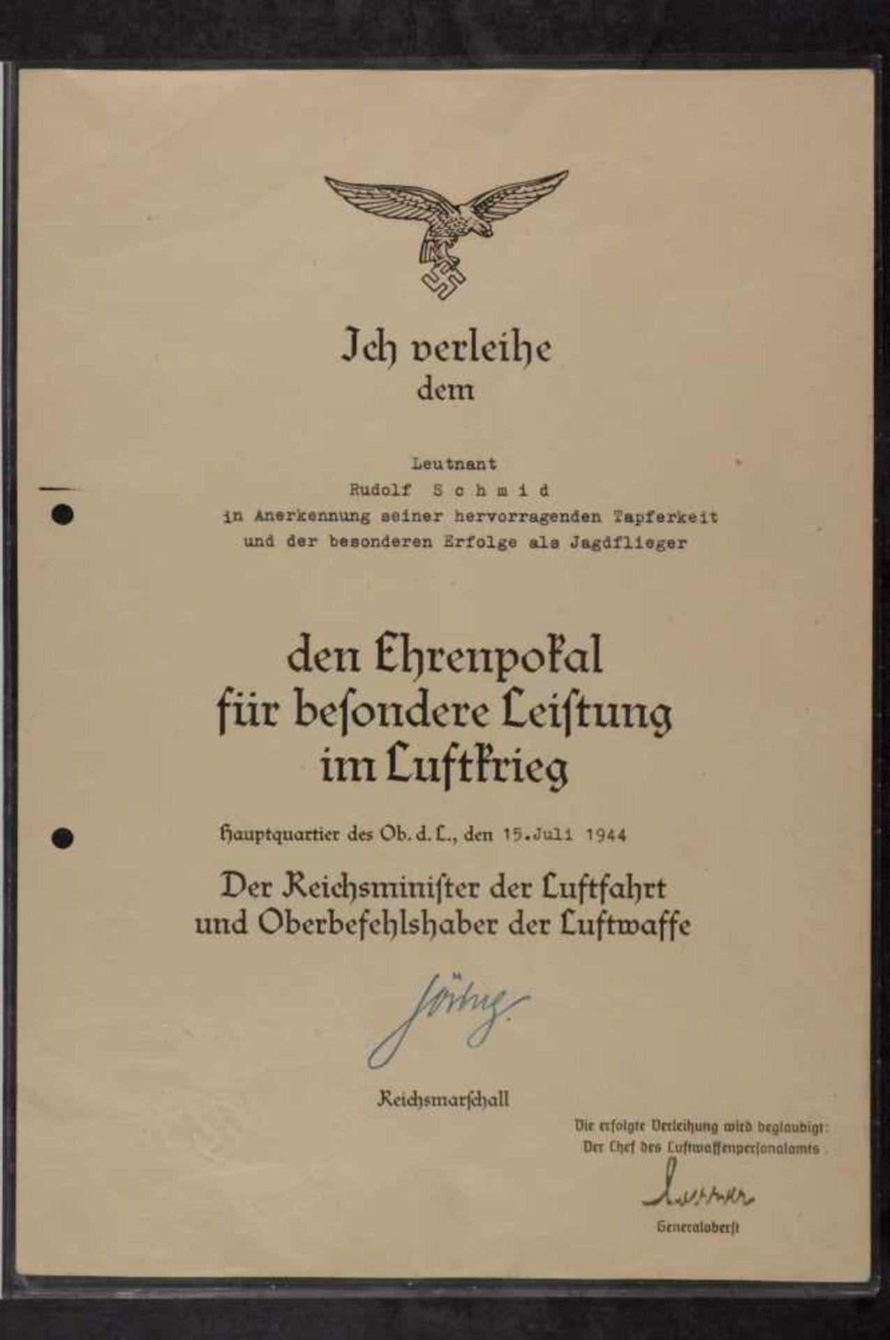 Urkunden, Dokumente und Unterschriften Verleihungsurkunde für einen Leutnant für den Ehrenpokal - Bild 2 aus 5
