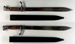 """Blankwaffen Deutschland Preußen, Seitengewehr 98/05 n.A., Kammerstück, Klinge mit Hersteller """"E.&"""