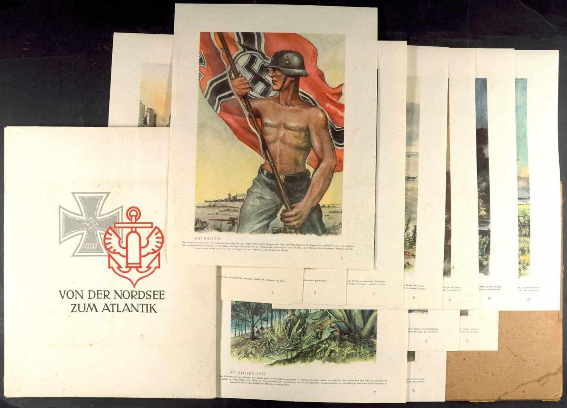 """Fotoalben, militärische Einzelfotos, Postkarten 1941, Bildermappe """"Von der Nordsee zum Atlantik"""","""
