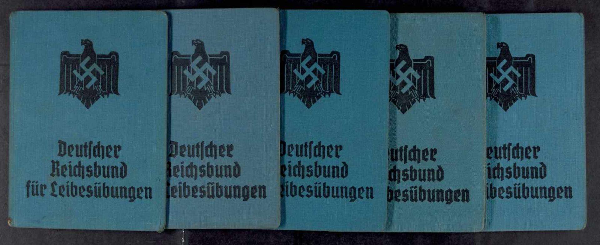 """Ausweise, Mitgliedsbücher und Mitgliedskarten 5x Mitgliedsbuch """"Deutscher Reichsbund für"""