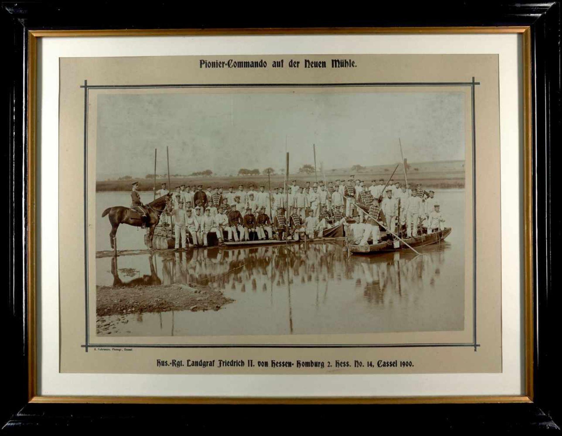 Fotoalben, militärische Einzelfotos, Postkarten 1900, Bild, Pionier-Kommando auf der Neuen Mühle,