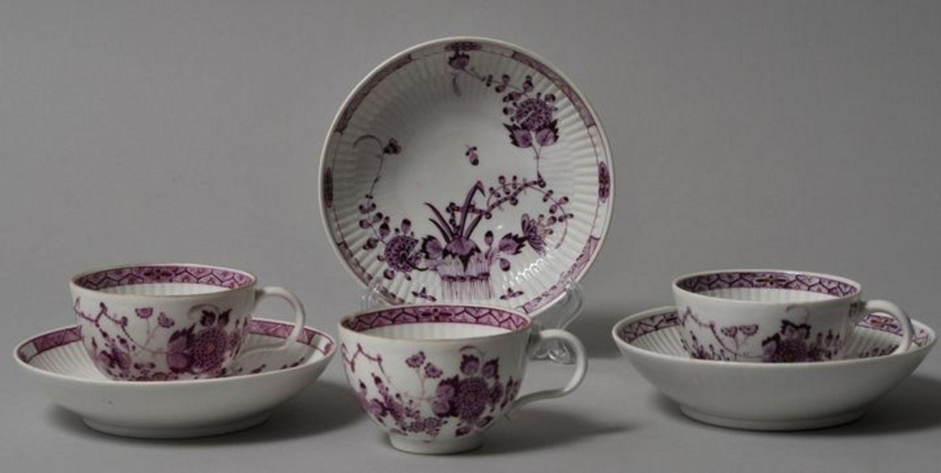 Drei Tassen mit Untertassen, Meissen, Marcolini, 1774-1814