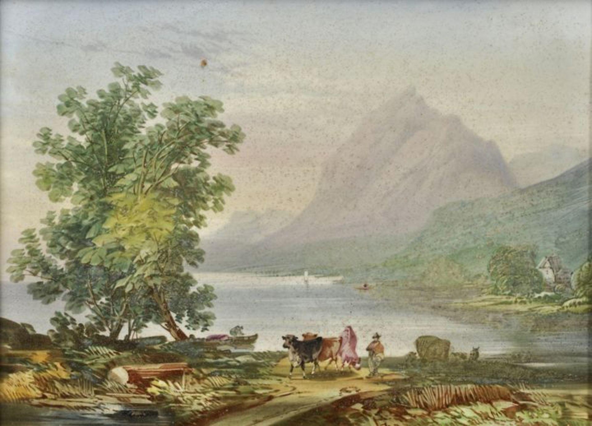 Los 19 - Porzellanbild Alpenlandschaft, 1. H. 19. Jh.Porzellanplatte mit gemalter Ansicht eines Sees vor...