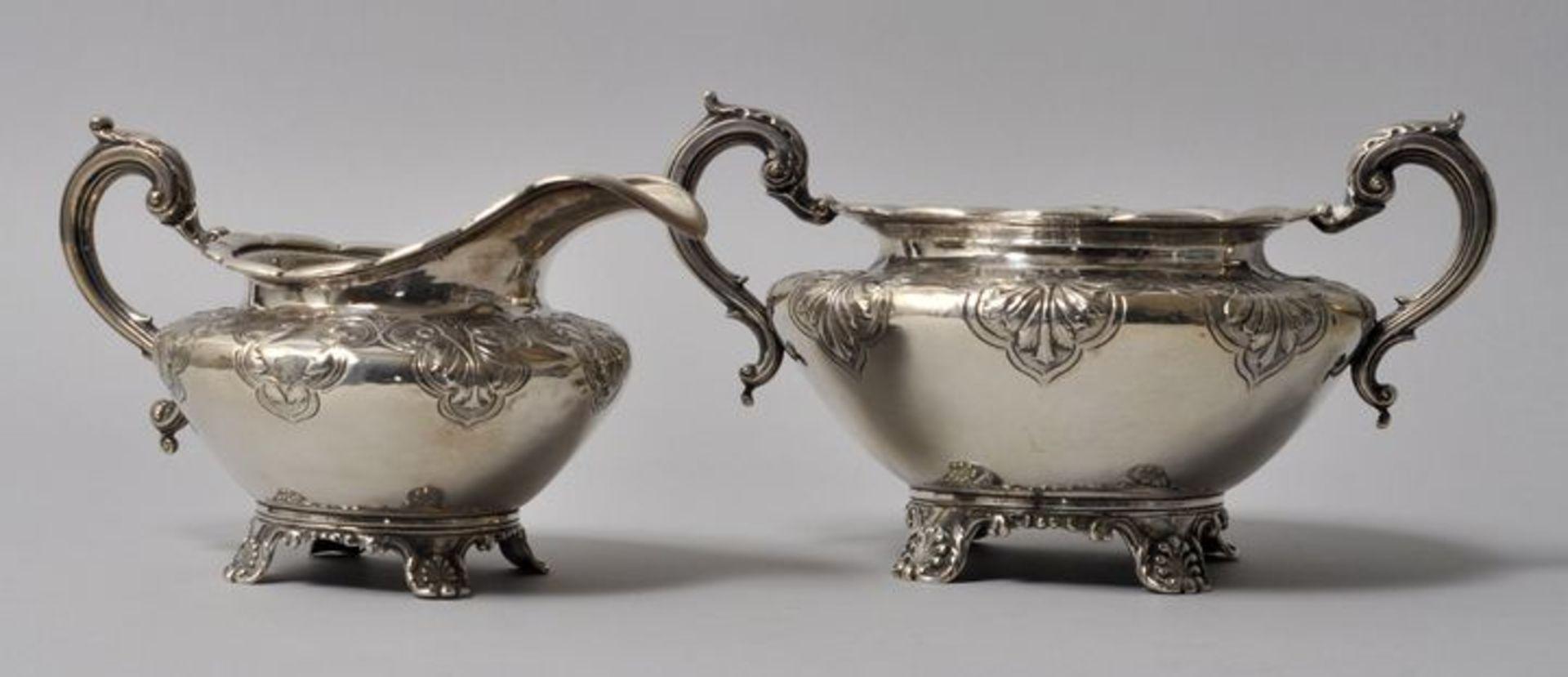 Los 55 - Zuckerschale und Milch-oder Sahnekännchen, London, ca. 1834Silber 925. Gefäßinnenwandungen...