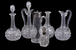 A selection of mostly cut-glass