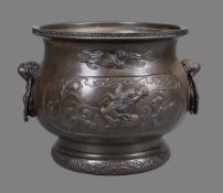 A Japanese Bronze Jardiniere of typical bulbous form on a stepped base