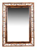A rectangular bamboo framed wall mirror
