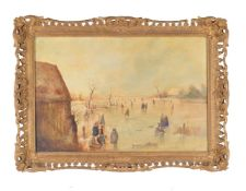 Dutch School (circa. 1900)Figures skating on a frozen river