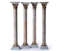 A set of four striated Egyptian alabaster and gilt bronze mounted columnar pedestals, late 19th cent