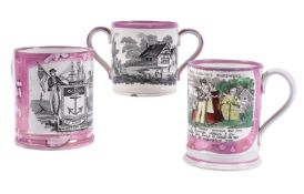 Two black-printed pink-lustre mugs and a loving cup of Sunderland type