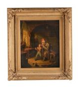 Continental School (19th century)Father with two children and a model ship; Interior scene with thre
