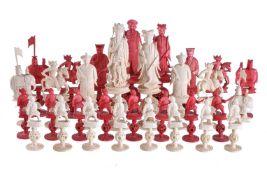 ϒ A Chinese Canton export ivory figural puzzle ball chess set