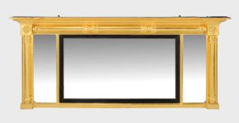 A giltwood overmantle mirror in William IV style