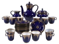 A Sevres (hardpaste) blue-ground and gilt part coffee service