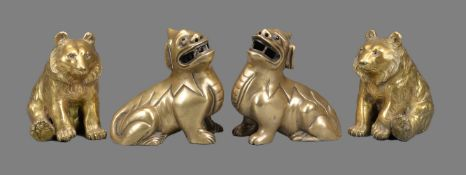 A Pair of Bronze or Brass Models of Kylin