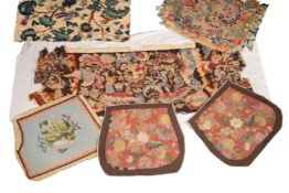 A collection of eleven British and Continental embroidered seat covers