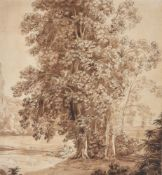 Follower of Jacob Phillip Hackert (German 1737-1807), Classical figures seated below a tree in a lan
