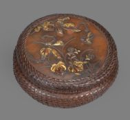 A Japanese Bronze Box and Cover of circular form