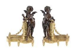 A pair of gilt metal and patinated bronze mounted figural chenets in late Louis XV taste