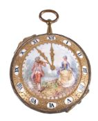 A French porcelain watch-shaped gilt-metal-mounted box and hinged cover