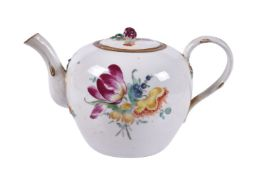 A German porcelain bullet-shaped teapot and cover