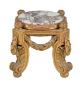 A carved giltwood and marble inset urn stand