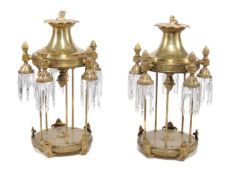 A near pair of substantial gilt metal and glass hung five light electroliers in the style of lantern
