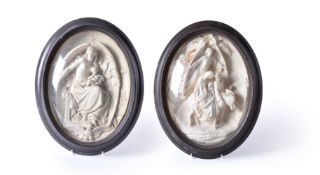 Albert Ernest Carrier-Belleuse (French 1824 - 1887), a sculpted plaster votive relief panel