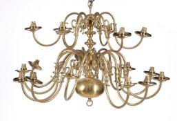 A gilt brass eighteen light chandelier in 17th century Dutch taste