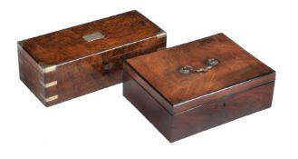 A Victorian burr walnut and brass bound stationery box