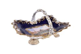 A Chamberlain's Worcester blue-ground and gilt and basket