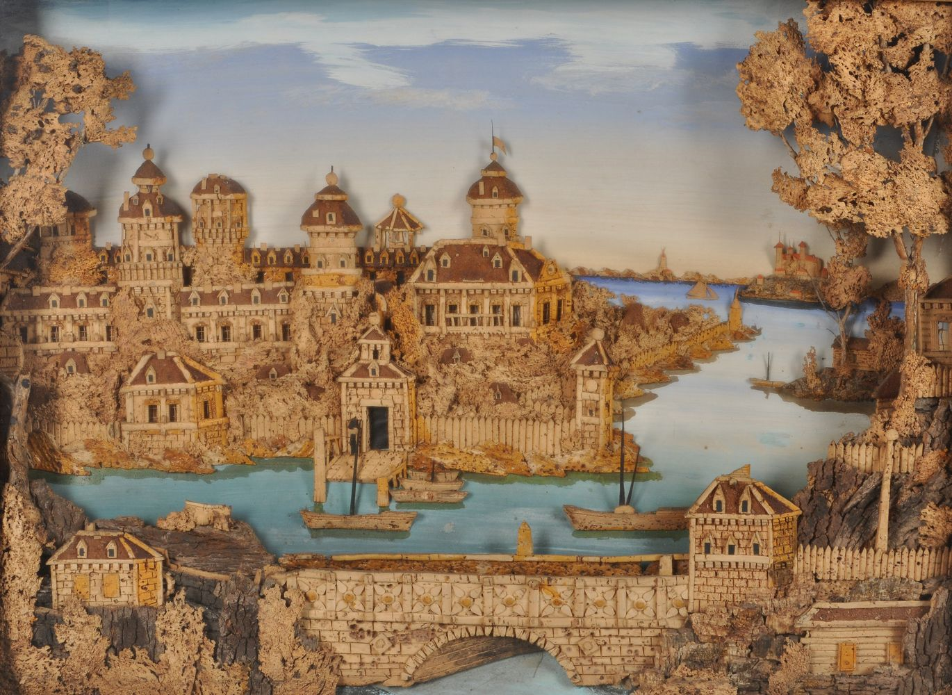 A large and impressive cork relief diorama of Gripsholm Castle, Sweden, late 19th/early 20th century