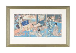 Toyokuni I, Toyokuni III and Others; Four Japanese Woodblock Printed Triptyches