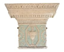 A part painted plaster pilaster capital in Neoclassical style