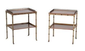 A pair of simulated bamboo and mahogany two-tier étagères