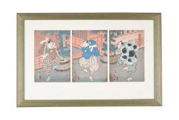 Kunichika and Toyokuni III: Five Japanese Woodblock Triptychs of kabuki actors and entertainers