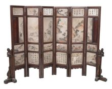 A Chinese six-panel marble and hardwood screen