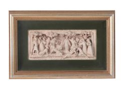 A Victorian sculpted terracotta relief by George Tinworth for Doulton & Co
