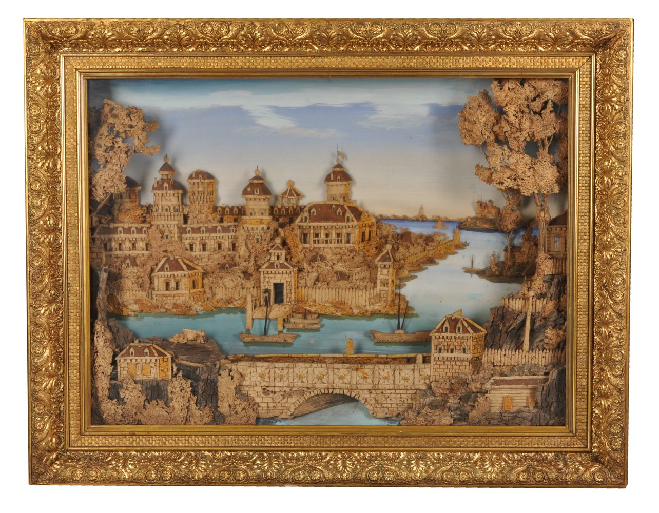 A large and impressive cork relief diorama of Gripsholm Castle, Sweden, late 19th/early 20th century - Image 2 of 4