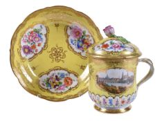 A Meissen yellow-ground chocolate cup