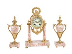 A French variegated pink marble and gilt-metal mounted clock garniture