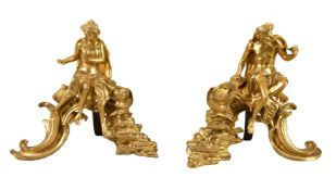 A pair of gilt bronze figural chenets in late Louis XV style