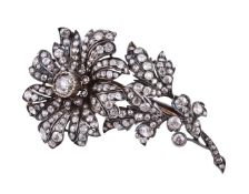 A late Victorian diamond flower brooch