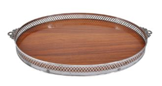 An Italian silver coloured and hardwood twin handled oval tray