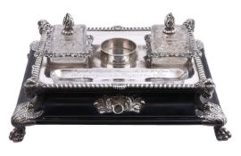 A late George III silver mounted ebonised wood inkstand by Samuel Roberts, George Cadman & Co.