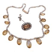 A citrine and pearl necklace