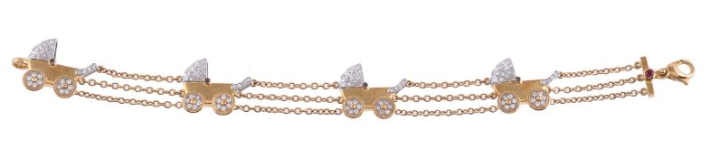 A diamond and sapphire baby carriage bracelet