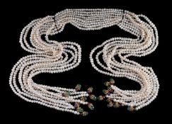 A freshwater cultured pearl and gem set necklace